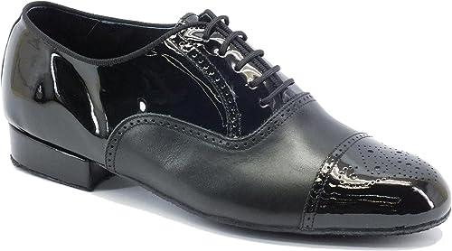 Vicravatello Dance chaussures  291B Nappa noir Vernice noir t20 suola Bufalo, Chaussons de danse pour homme Noir noir