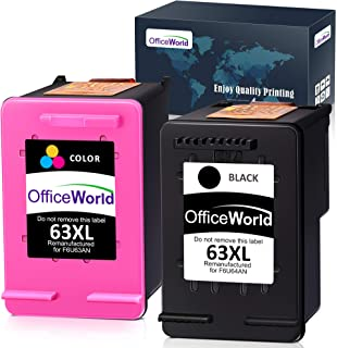 OfficeWorld Remanufactured 63 63XL Ink Cartridge Replacement for HP 63XL 63 XL Ink Cartridge (Black + Color), Work with HP...