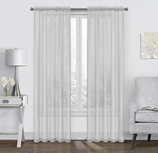 GoodGram 2 Pack: Ultra Luxurious High Thread Rod Pocket Sheer Voile Window Curtains Assorted Colors (Silver)