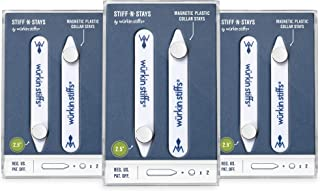 Wurkin Stiffs-یقه مغناطیسی پلاستیکی 3 جفت 2.5 اینچی Stiff-N-Stay با کیف ذخیره سازی