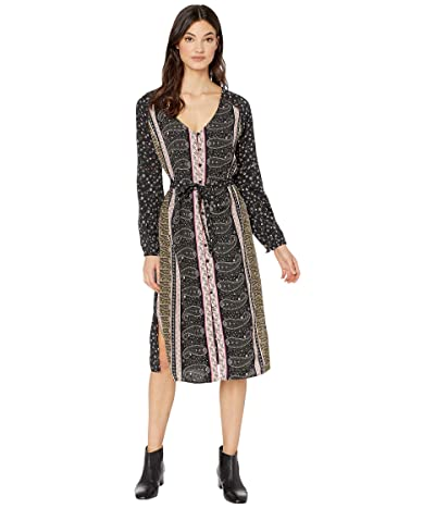 Cupcakes and Cashmere Nollie Boarder Ditsy Crepe Long Sleeve Dress (Black) Women
