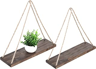 MyGift 17-Inch Distressed Wood Hanging Swing Rope Floating Shelves, Set of 2, Brown