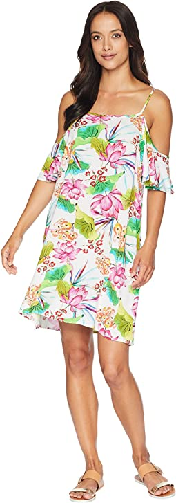 Bora Bora Cold Shoulder Flutter Sleeve Dress Cover-Up
