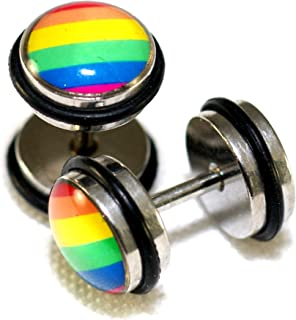 Rainbow Color Lesbian Gay Pride Design Steel Fake Cheaters Faux Illusion Plugs 0G Gauge 8mm 1 Pair Medium