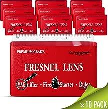 Premium Grade Fresnel Lens Pocket Wallet Credit Card Size • Magnifier • Solar Fire Starter • Ruler - Unbreakable Plastic (10 Pack Premium Grade Ruler/Magnifier) (CZFLCCRLR)