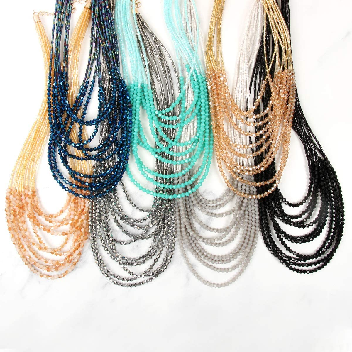 RIAH FASHION Sparkly Crystal Bead Statement Necklace - Handmade Knot Versatile 60