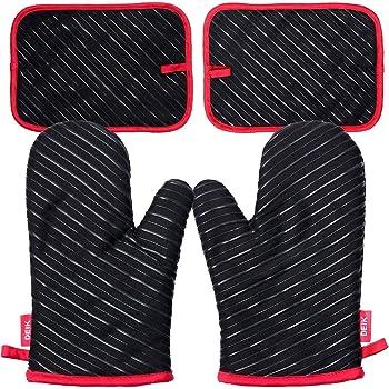 Noir Rayure Longs Manchettes Gants Doubles avec Deux isolants r/ésistants /à la Chaleur et Anti-d/érapants pour la Cuisson des Aliments Faisant Cuire Barbecue esonmus Gants de Cuisine en Silicone