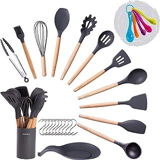Set d'ustensiles de cuisine en silicone, 11 ustensiles de cuisine + cuillère à mesurer + tapis de pose + support de set d'...