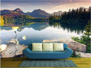 wall26 - Mountain Lake in National Park High Tatra Strbske Pleso, Slovakia, Europe Beauty World - Removable Wall Mural | Self-Adhesive Large Wallpaper - 66x96 inches