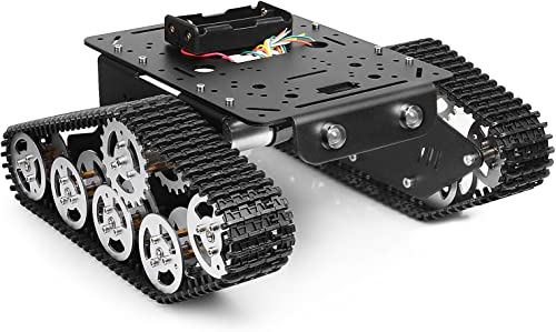 Tracked Robot Smart Car Platform Metal Aluminium Alloy Tank Chassis with Powerful Dual DC 9V Motor for Arduino Raspbe...