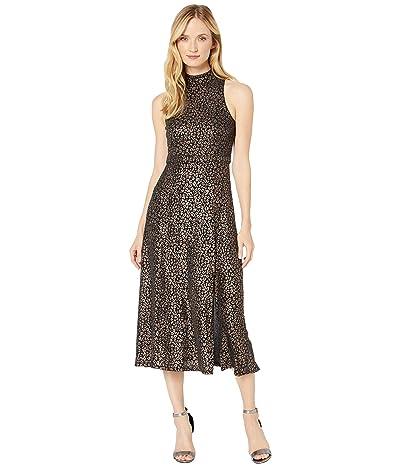 Donna Morgan Foil Printed Animal Stretch Knit Sleeveless Mock Neck Slitted Dress (Black) Women