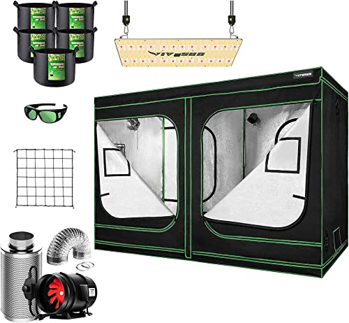 """popular VIVOSUN 96""""x48""""x80"""" Mylar Hydroponic Grow sale Tent Complete Kit with 8 Inch 720 CFM Inline Duct discount Fan Package, VS2000 LED Grow Light, Glasses, Grow Bags, Trellis Netting outlet online sale"""
