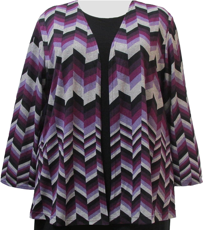 Purple Chevron Cardigan Sweater Woman's Plus Size Cardigan