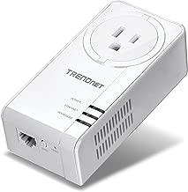 TRENDnet Powerline 1300 AV2 Adapter with Built-in Outlet, Gigabit Port, IEEE 1905.1 & IEEE 1901, Range Up to 300m (984 ft.), TPL-423E