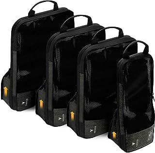 VASCO Compression Packing Cubes for Travel – Premium Set of 4 Luggage Organizer Bags (S+2M+L) Black