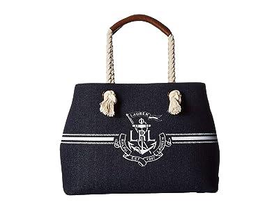 LAUREN Ralph Lauren Huntley Market Tote (Denim/White Logo) Handbags