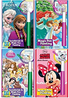 Disney's Characters Magic Pen Painting Activity Books, Set for Girls with ZIPPER BAG. Includes: Sisters Forever Frozen, Princess Happily Ever After and Enchanted Stable, Minnie Moments coloring books.