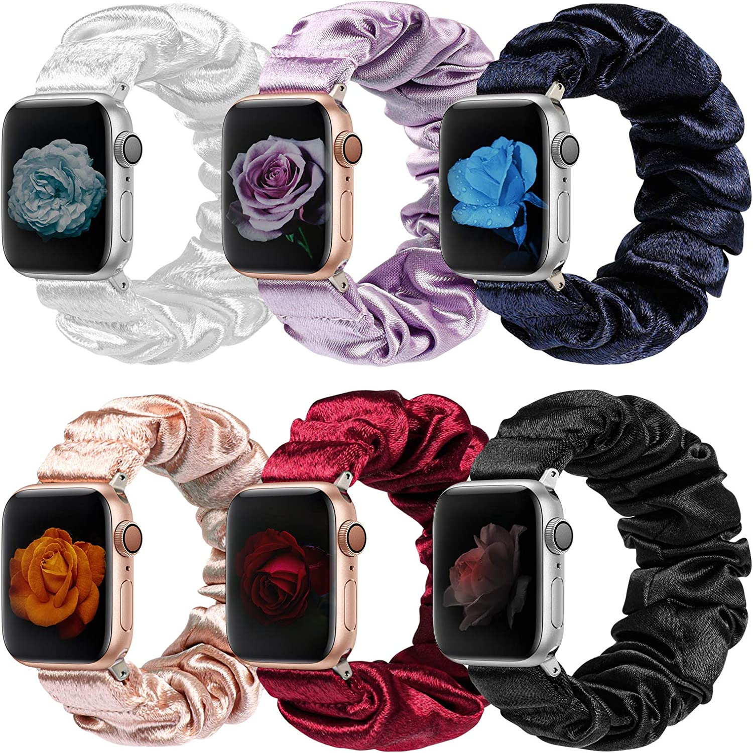 MITERV Compatible with Apple Watch Band 38mm 40mm Soft Floral Fabric Elastic Scrunchies iWatch Bands for Apple Watch Series 6,SE,5,4,3,2,1 6 Pack Small 38mm 40mm