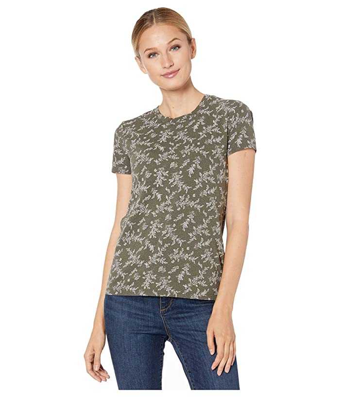 Lucky Brand  Crew Neck Printed Tee (Green Multi) Womens Clothing