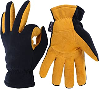Winter Gloves, -20°F(-29℃) Cold Proof Thermal Work Glove - Deerskin Suede Leather Palm and Polar Fleece Back with Heatlok Insulated Cotton - Hands Warm in Cold Weather for Women and Men