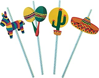 Fiesta Party Straws | Mexican Decorations | Set of 32, PRE-ASSEMBLED Paper Straws