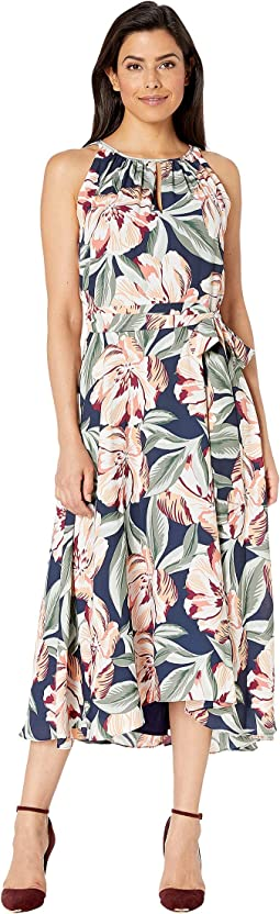 Sleeveless Printed Floral Keyhole Neck Dress w/ High-Low Hem Line