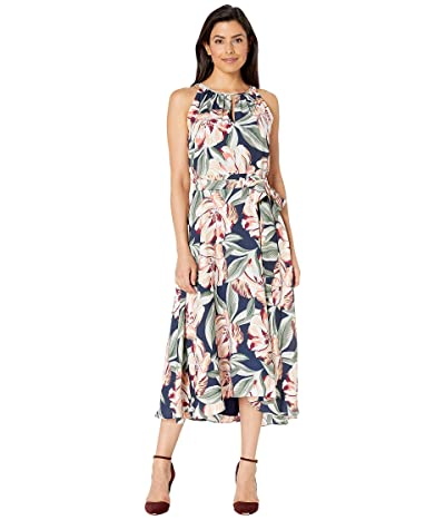Tahari by ASL Sleeveless Printed Floral Keyhole Neck Dress w/ High-Low Hem Line (Navy Cali Floral) Women
