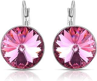 Swarovski Crystal Bella French Wire Clip Pierced Post Drop Designer Earrings.