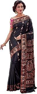 SareesofBengal Women's Katan Silk Meenakari Baluchari/Swarnachari Saree Black