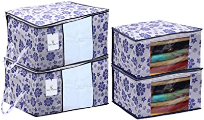 Kuber Industries Flower Printed Non Woven 2 Pieces Saree Cover and 2 Pieces Underbed Storage Bag, Cloth Organizer for Storage, Blanket Cover Combo Set (Royal Blue) -CTKTC038620