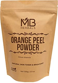 MB Herbals Pure Orange Peel Powder 227g/1/2 lb/8 oz/0.5 LB - 100% Pure & Natural Sun Tan Remover & Exfoliator - No Chemicals or Bleaching Agents