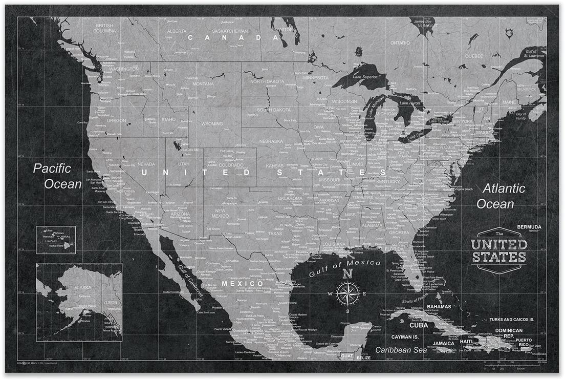 Conquest Maps Map of USA Poster Quantity limited Decor to Style Modern Tr Long Beach Mall
