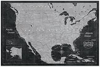 Conquest Maps Map of USA Poster Modern USA Map Style Decor to Track Travels & Pin Adventures! Matte Paper - Rustic Modern Grunge map - City/State Labels - Accurate 2015 Data (48 x 32 Inches)