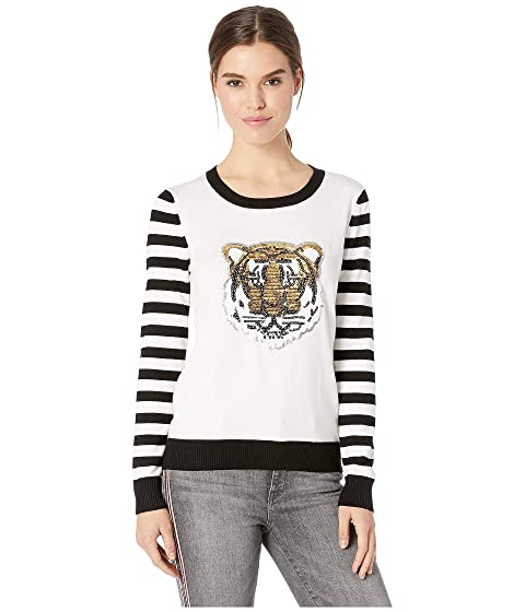 ROMEO & JULIET COUTURE Skull Motif Stripe Sleeve Sweater, White/Black Multi