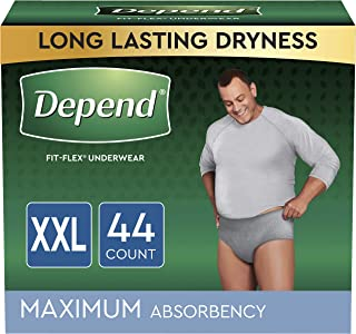 Depend FIT-FLEX Incontinence Underwear for Men, Maximum Absorbency, Disposable, XXL, Grey, 44 Count (2 Packs of 22) (Packa...