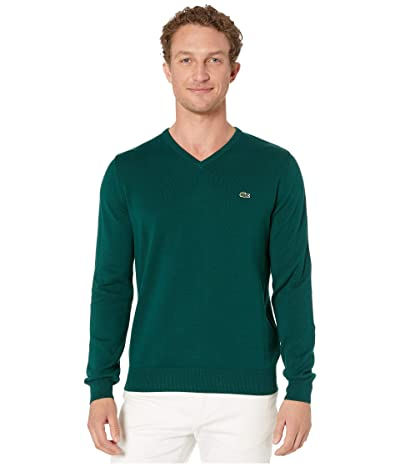 Lacoste Long Sleeve Half Moon V-Neck Jersey Sweater (Beeche/Flour/Navy Blue) Men