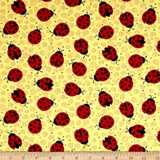 Quilting Treasures 0566202 Ink & Arrow June Bee Esme Lady Bugs Yellow Fabric by The Yard,