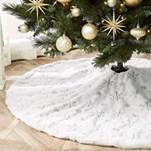 KHOYIME White Christmas Tree Skirt 48 inches Large Faux Fur Xmas Tree Skirt with Shining Silver Snowflake Christmas Decorations Party Ornaments Holiday Room Decor (122cm/48inches)