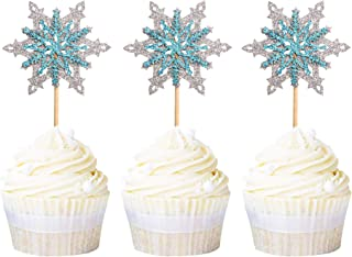 Ercadio 24 Pack Snowflake Cupcake Toppers Double Layers Silver and Blue Winter Theme Cupcake Picks Baby Shower Kids Birthd...
