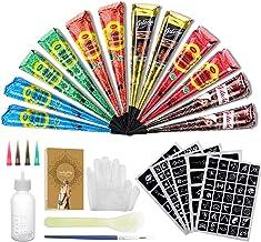 Luckyfine 12Pcs Henna Tattoo, Waterproof Temporary Tattoo Kit, with 165X Stencils, 4X Plastic Nozzle, 1X Brush/Plastic Scraper, 2X (Black/Brown/Orange/Rose Red/Blue/Green), 25g X 12