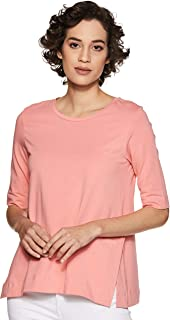 Amazon Brand - Symbol Women's Solid Regular Fit 3/4 Sleeves T-Shirt