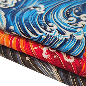 ANDRIMAX 3Pcs Fat Quarter 18 x 22 46cm x 56cm 100/% Cotton Fabric Leaf Printed Quilting Fabric Bundle for DIY Fabric Sewing Blue Waves