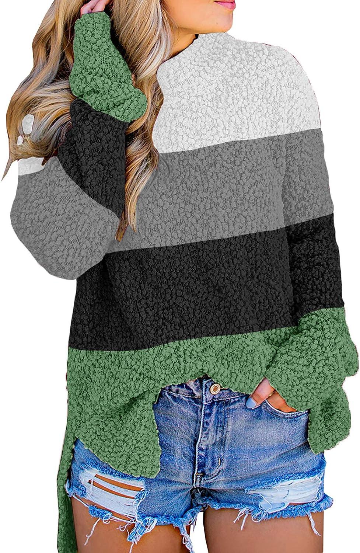 Lynwitkui Women's Special sale item Fuzzy Knitted Sweater Sleev Limited price sale Long Fleece Sherpa