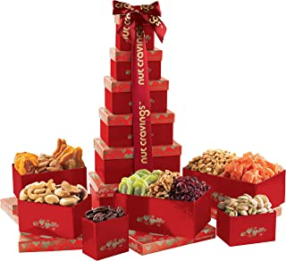 Gourmet Nut & Dried Fruit Tower Gift Basket Tray (12 Variety) - Edible Care Package Set, Birthday Party Food Arrangement Platter - Healthy Snack Box for Families, Women, Men, Adults - Prime Delivery