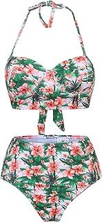 Bademode YEBIRAL Frauen Verschiedene Muster Flounce Bikini Damen Crop Top Neckholder Hoher Taille Zweiteilige Badeanzug Strandkleidung Bademode Badeanzüge
