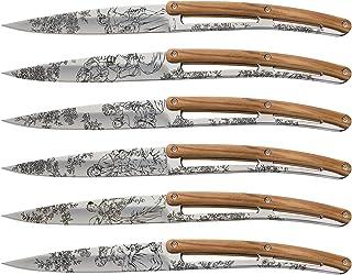 Set de 6 deejo de table tattoo / miroir / olivier / toile de Jouy | Ensemble de 6 couteaux de table – lame fixe – gravure ...
