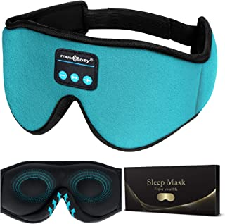 MUSICOZY Sleep Headphones 3D Bluetooth 5.0 Wireless Headband Sleep Mask, Sleeping Headphones Music Eye Mask for Side Sleep...