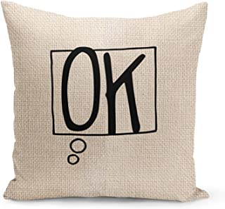 Ok Beige Linen Pillow with Black Foil Print Speech Bubble Couch Pillows