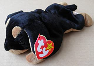 TY Beanie Babies Doby the Dog Stuffed Animal Plush Toy - 8 inches long - Black and Brown