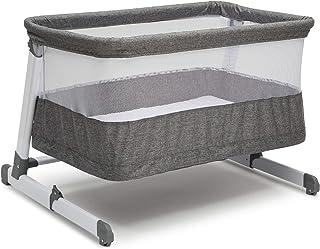 Simmons Kids Room2Grow 2-in-1 Newborn Bedside Bassinet & Infant Sleeper - Height Adjustable Portable Crib with Wheels & Airflow Mesh, Grey Tweed